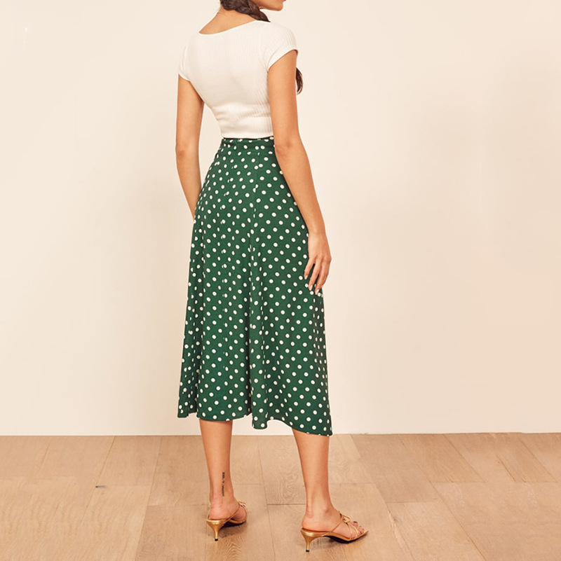 Green Dot PRINT Midi Skirt Front Slit Fashion Bloggers Viscose Skirts 2019ss New