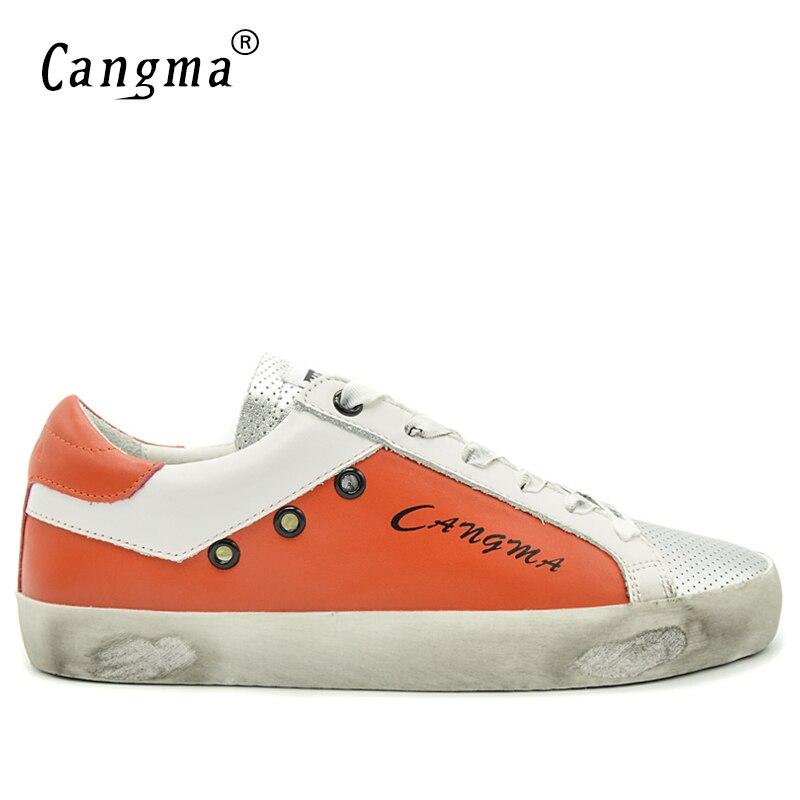 CANGMA décontracté hommes chaussures Durable Orange argent bas en cuir véritable baskets hommes chaussures grande taille Zapatillas Hombre