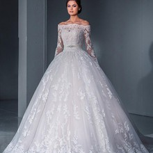Vintage 2016 Ball Gown Wedding Dress Sexy Off The Shoulder Lace Long Sleeve Vestido De Noiva 2015 Tulle Applique Beaded Sashes
