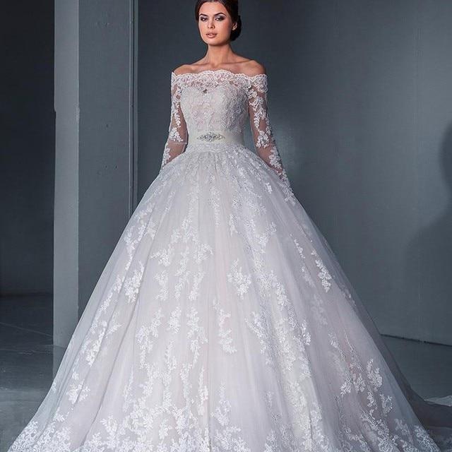 vintage bridal ball gown off the shoulder long sleeve vestido de