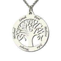 Wholesale Family Tree Necklace Engraved Circle Name Necklace Sterling Silver Mum Mom Necklace Present For Her