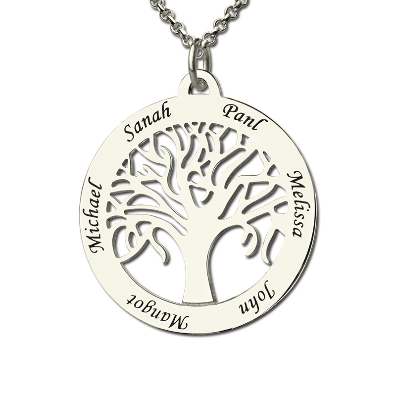 Wholesale Family Tree Necklace Engraved Circle Name Necklace Sterling Silver Mum Mom Necklace Present for Her Family Jewelry faux turquoise engraved hope life tree leaf necklace