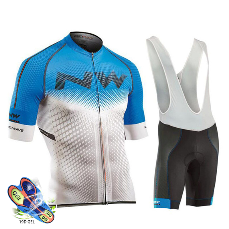 Blue and white jersey with cycling pants