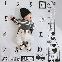 Детское одеяло с принтом жирафа, ежемесячный фон для фотосъемки, ткань 100 см для мальчиков и девочек, реквизит для фотосъемки