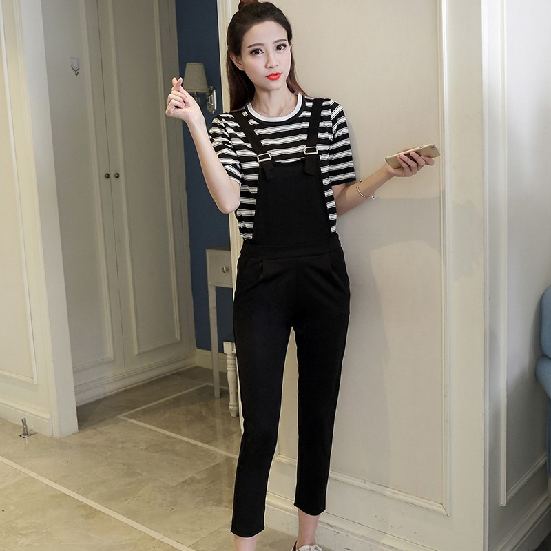 Womens Black Ankle-Length Jumpsuits + Short Sleeve Loose Striped T-Shirts 2PCS Set