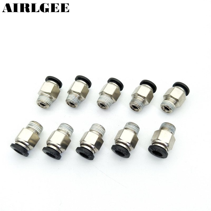 10 Pcs Fast fitting 6mm Tube 1/8 PT Thread Push in Air Pneumatic Quick Coupler Connectors 9 pcs 3 8 pt male thread 8mm push in joint pneumatic connector quick fittings