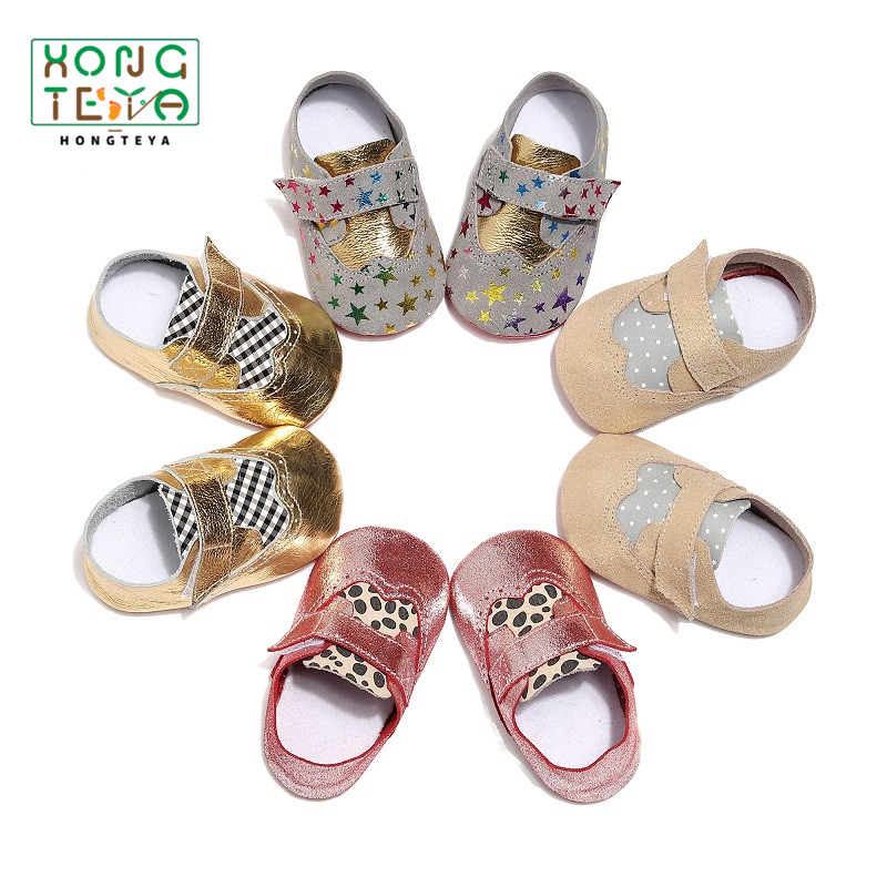 New Stylish Patch Bright Baby Moccasins Genuine Leather  Sole Soft Infant Toddler Crib Shoes First Walkers For Baby Girl Boy