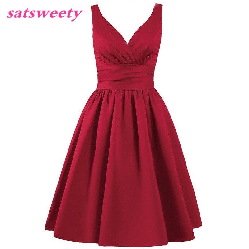 Satsweety Vlastní barva Čaj-délka V-Neck krátké Stain družičky - Šaty pro svatební hostiny - Fotografie 4