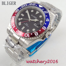 40mm Bliger black Dial Deployment Clasp Luminous Hands Sapphire Crystal GMT Automaic Movement Men's Watch цена