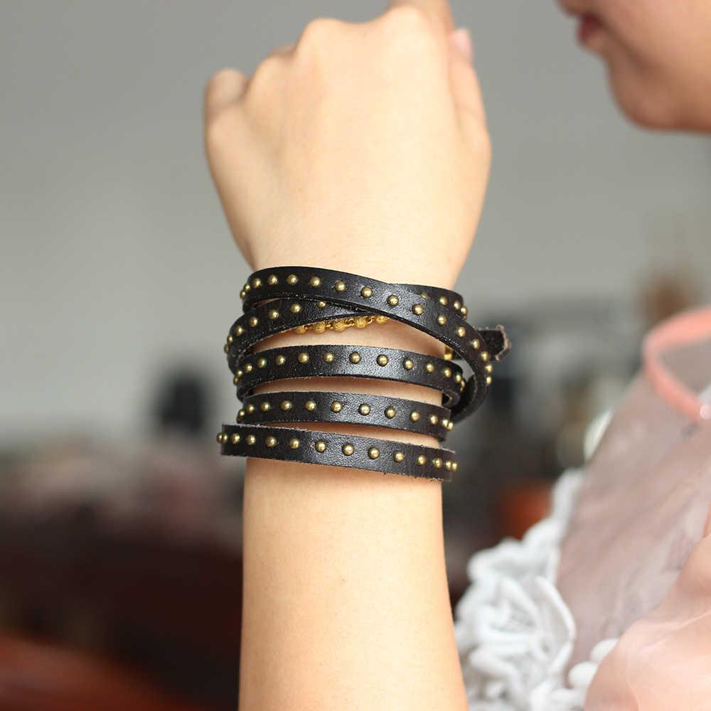 Seanuo 104CM de largo de cuero Real encanto pulseras con forma de correa para hombres y mujeres Unisex de moda, pulsera del brazalete Punk remache pulseras de brazalete