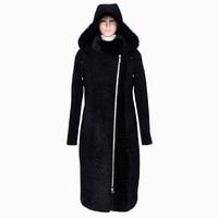 2017 женские пальто из Австралии бренды реальный овец стриженая furof demosi 100% Природа норки Воротник модные теплые оптовая продажа