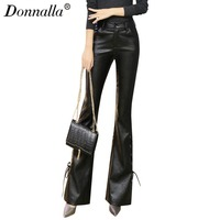 Donnalla Cool Punk Fashion Womens Lace Up Slim Fit Trousers Female Flared Bell Bottom PU Leather