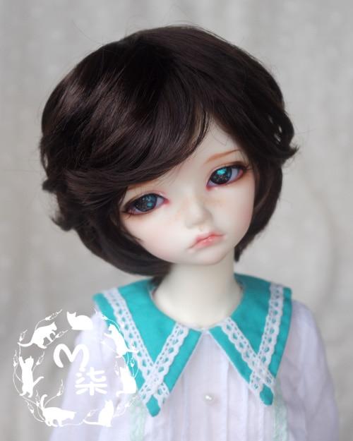 1/3  8-9inch  1/4 7-8inch  BJD Wig black short  hair  for bjd dollfie(mohair-like) 1 3 1 4 bjd wigs hot sell bjd sd short curly wig for diy dollfie mohair like