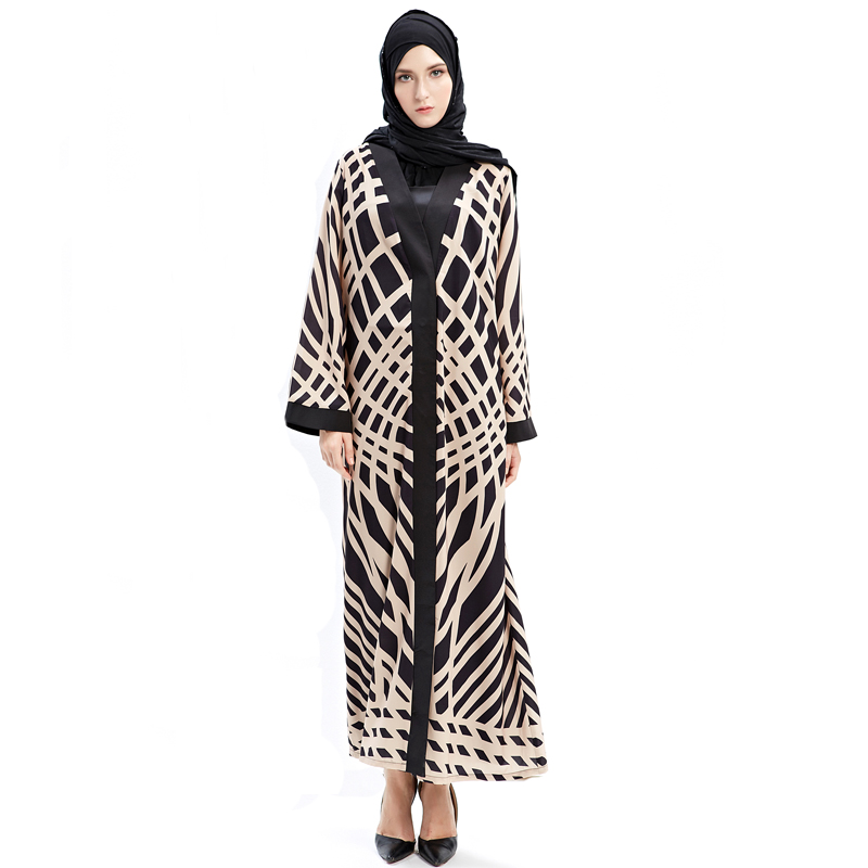 Arab Striped Abaya Muslim Women Long Cardigan Dresses Qatar Oman Turkey Clothes without Scarf in Islamic Clothing from Novelty Special Use
