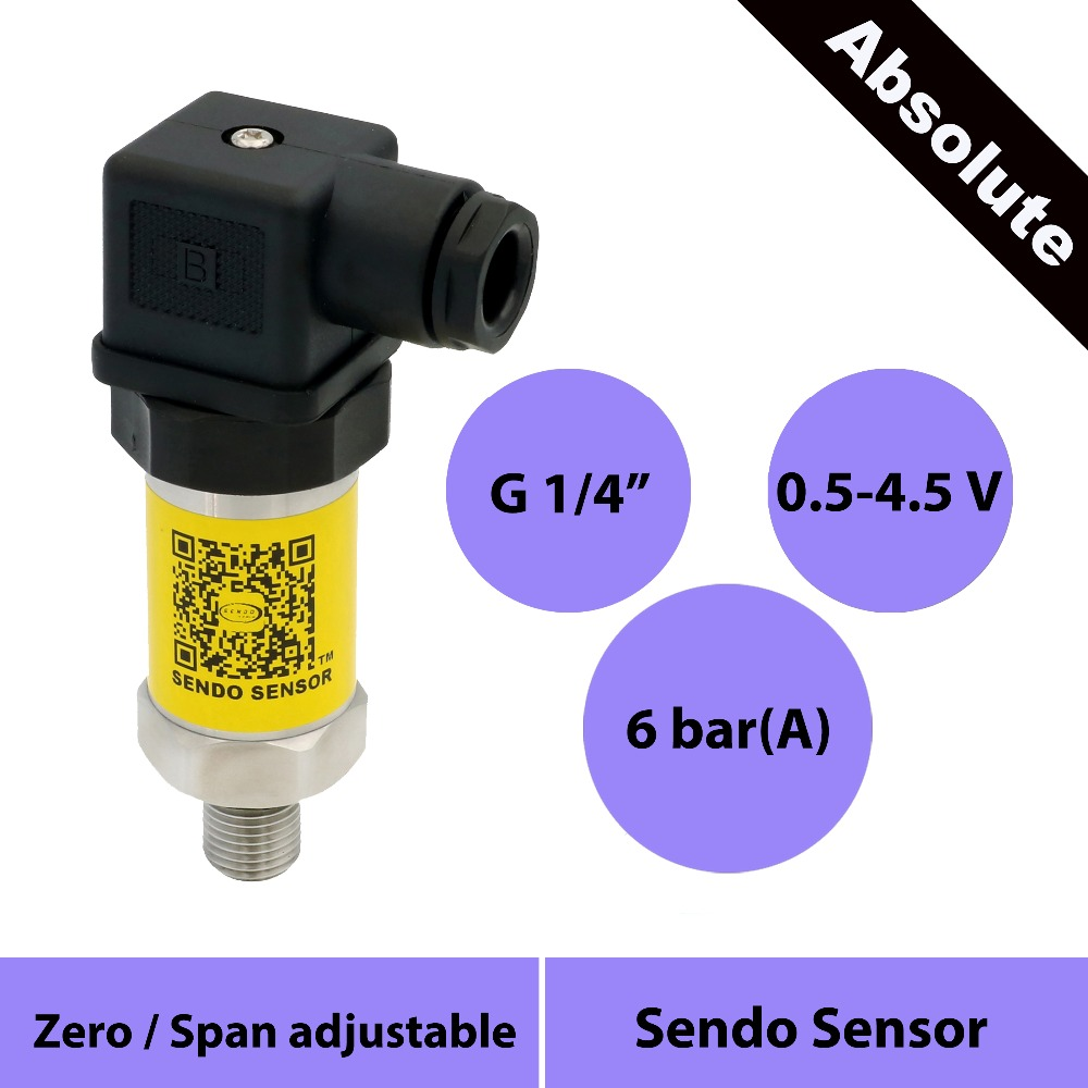 0.5 to 4.5v pressure sensor 0.6 mpa abs, 600 kpa, 6 bar, absolute pressure, g1/4 process connection, din43650, CE certification