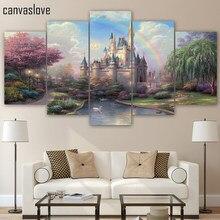 HD отпечатано 5 шт. холсте золушки замок живопись wall art гостиная украшения печати плакат бесплатная доставка/ny-1015