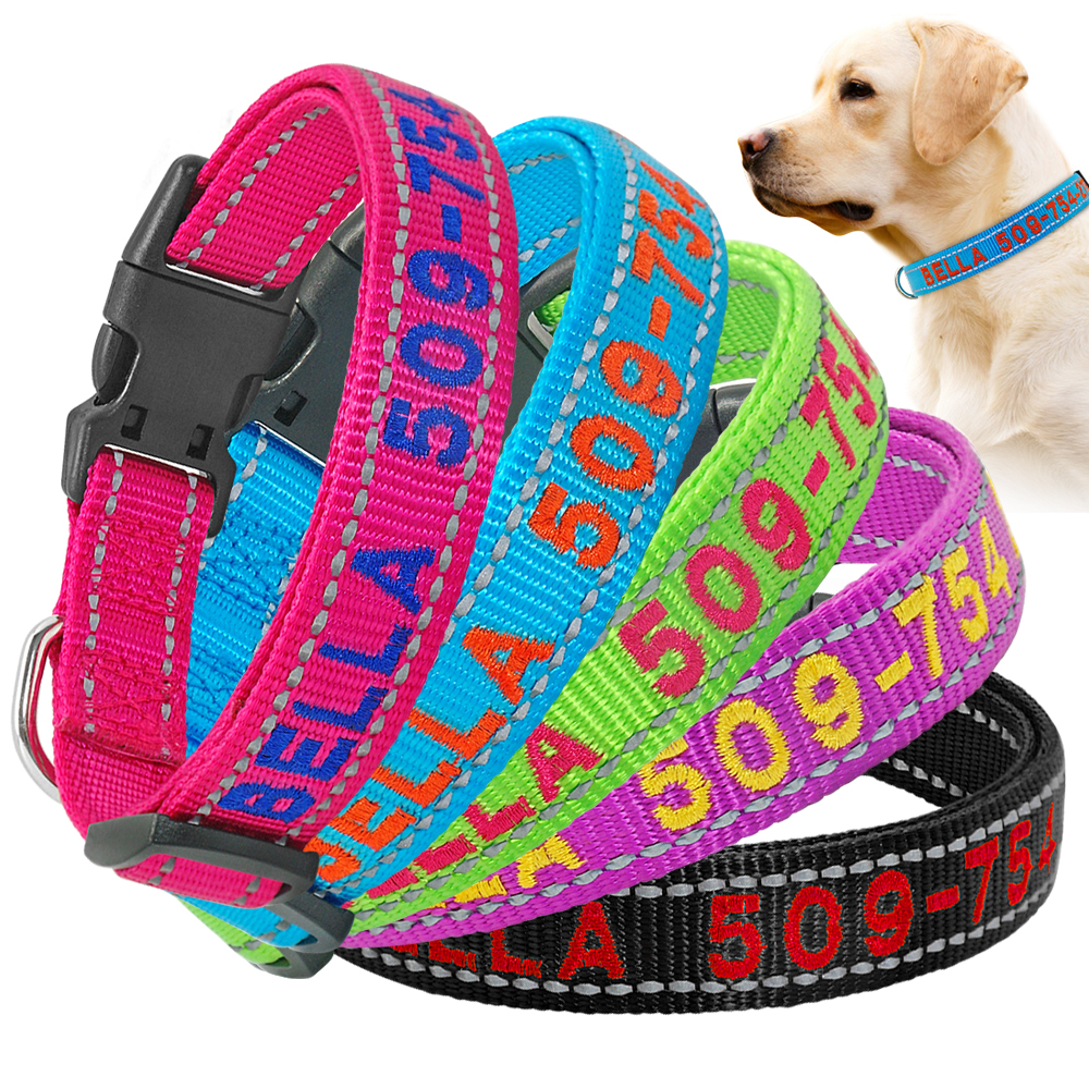 Custom Collars w//Pet Name /& Phone Number Thin Blue Line Flag Personalized Dog Collar