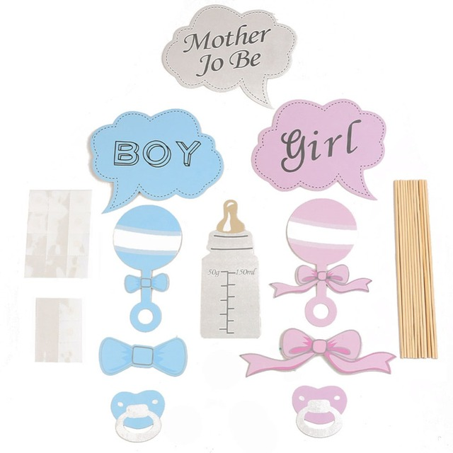 10 pcs baby shower party props baby bottle cardboard photo booth props on a stick favor