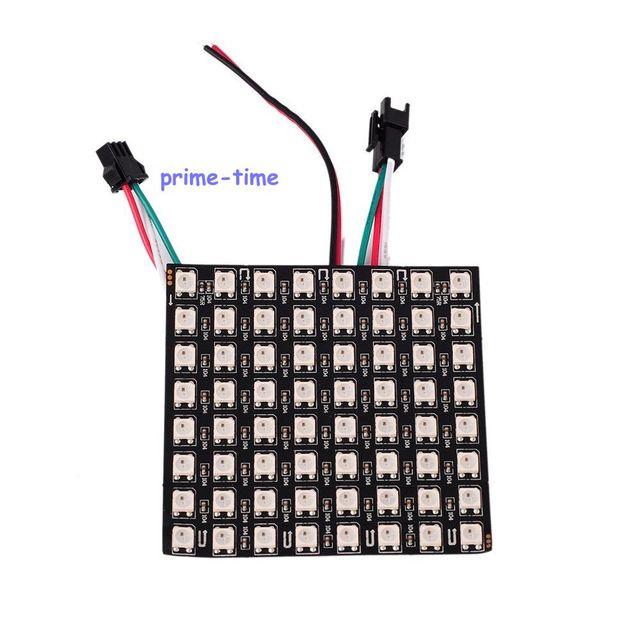 8x8 Pixel 64 Pixels WS2812B Digital LED Flexível Painel Endereçável Individualmente Cor DC5V Sonho Cheio