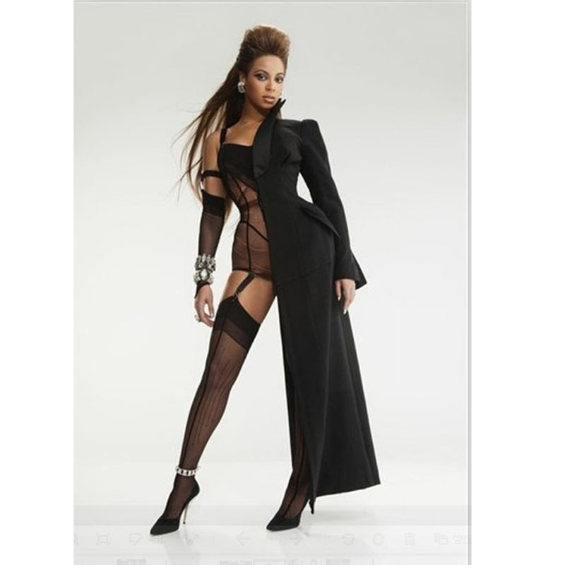 Women Sexy Club Half Coat Mantle Beyonce Style,Black Half Long Coat Cloak With Bodysuit Sleeve Female DJ Costumes Dress Smock