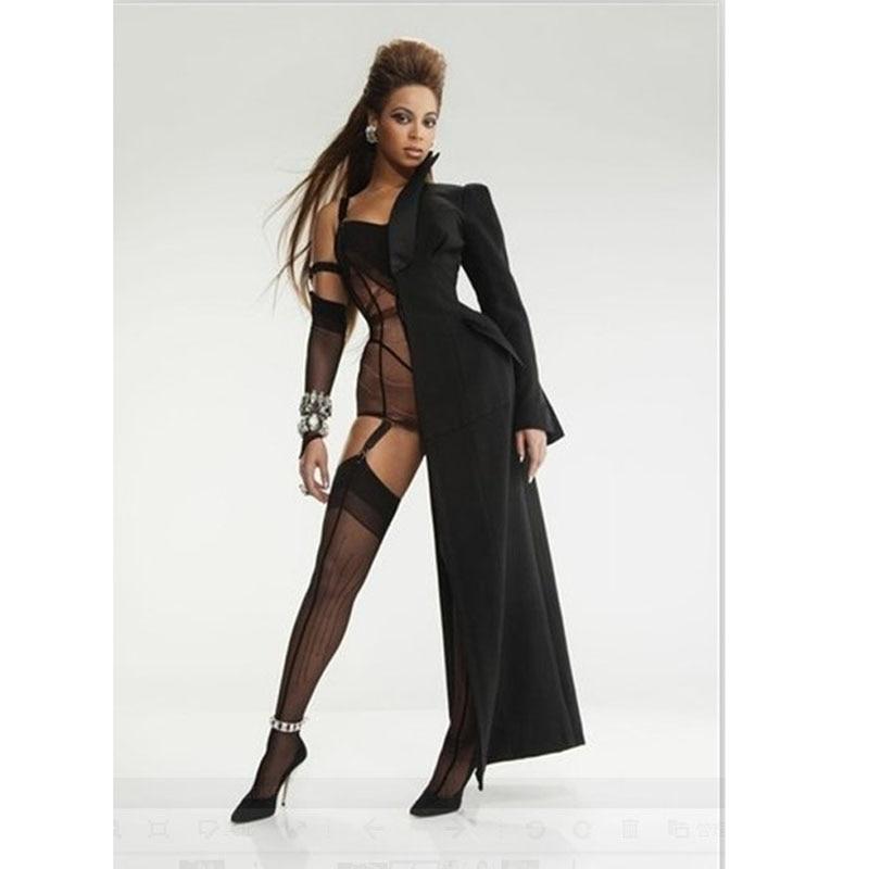 Women Sexy Club Half Coat Mantle Beyonce Style,Black Half Long Coat Cloak With Bodysuit Sleeve Female DJ Costumes Dress Smock