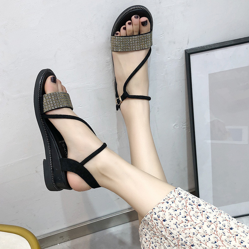 f1a404c1fb4 Female Sandal Fashion Womens Shoes 2019 Beige Heeled Sandals Bling Bling  Buckle Strap Ladies Luxury Black Flat Summer Bright