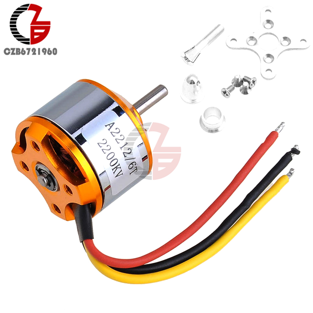 A2212 2200KV 6T Brushless Outrunner Motor DC Motor for RC Aircraft Quadcopter Helicopter 1pcs a2212 brushless motor 930kv 1000kv 1400kv 2200kv 2700kv for rc aircraft plane multi copter brushless outrunner motor