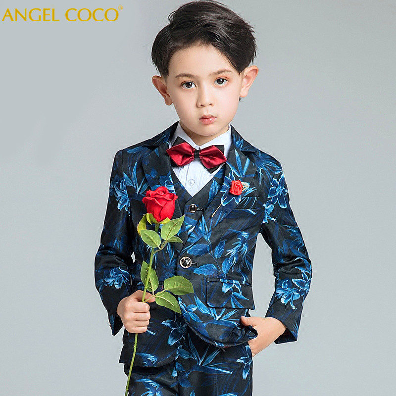 Printed Single-Breasted Vest + Shirt + Trousers + Bow Tie Fashion Suit Boys Blazer Menino Costume Garcon Boys Suits For Weddings недорго, оригинальная цена