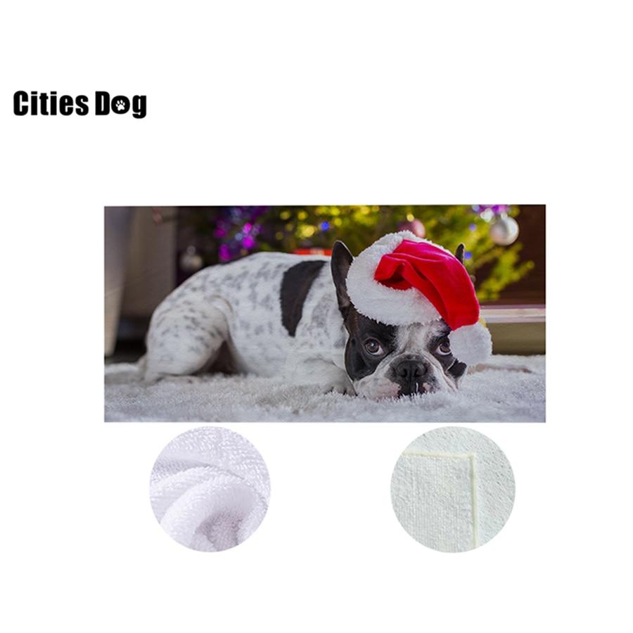 Noël espagnol Bulldog serviette de plage 73x148 Animal chien microfibre voyage en plein air Sports natation Camping bain Yoga tapis couverture - 2