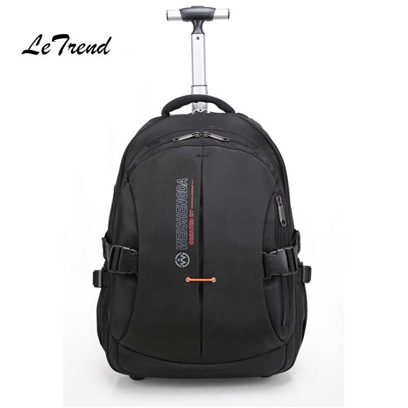LeTrend business Oxford Travel Bag Rolling Luggage Laptop bag Multifunction Suitcases Wheels Cabin Shoulder Bags Men's Backpack