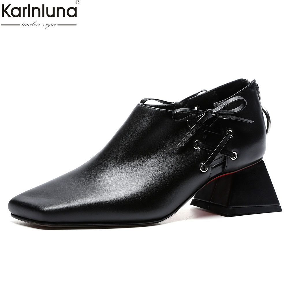 Women Shoes luxury brand Genuine Leather chunky heels Office lady Pumps Shoes Woman