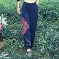 Nuevo chino Bordado Patrón Pant Otoño Arte mujeres del Estilo Ocasional de Algodón de Lino Cintura Elástica Pantalones de Harén Pantalones Largos