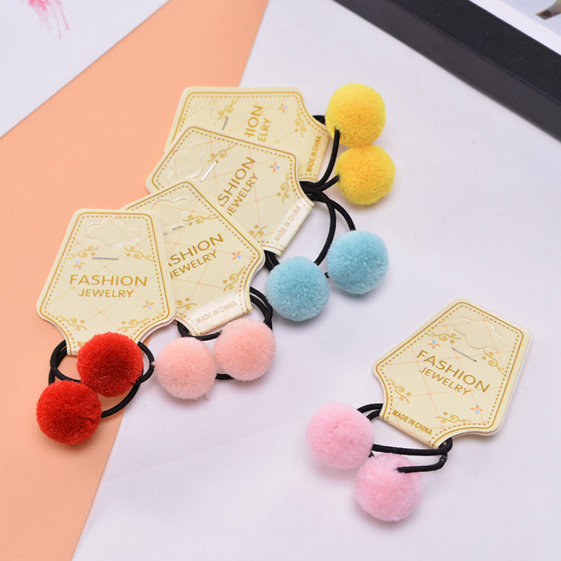 Hot 2pcs 1 Inch Cute Ponytail Rope Headdress Headwear Fur Ball With Elastic Band Ribbon Accessories Headband