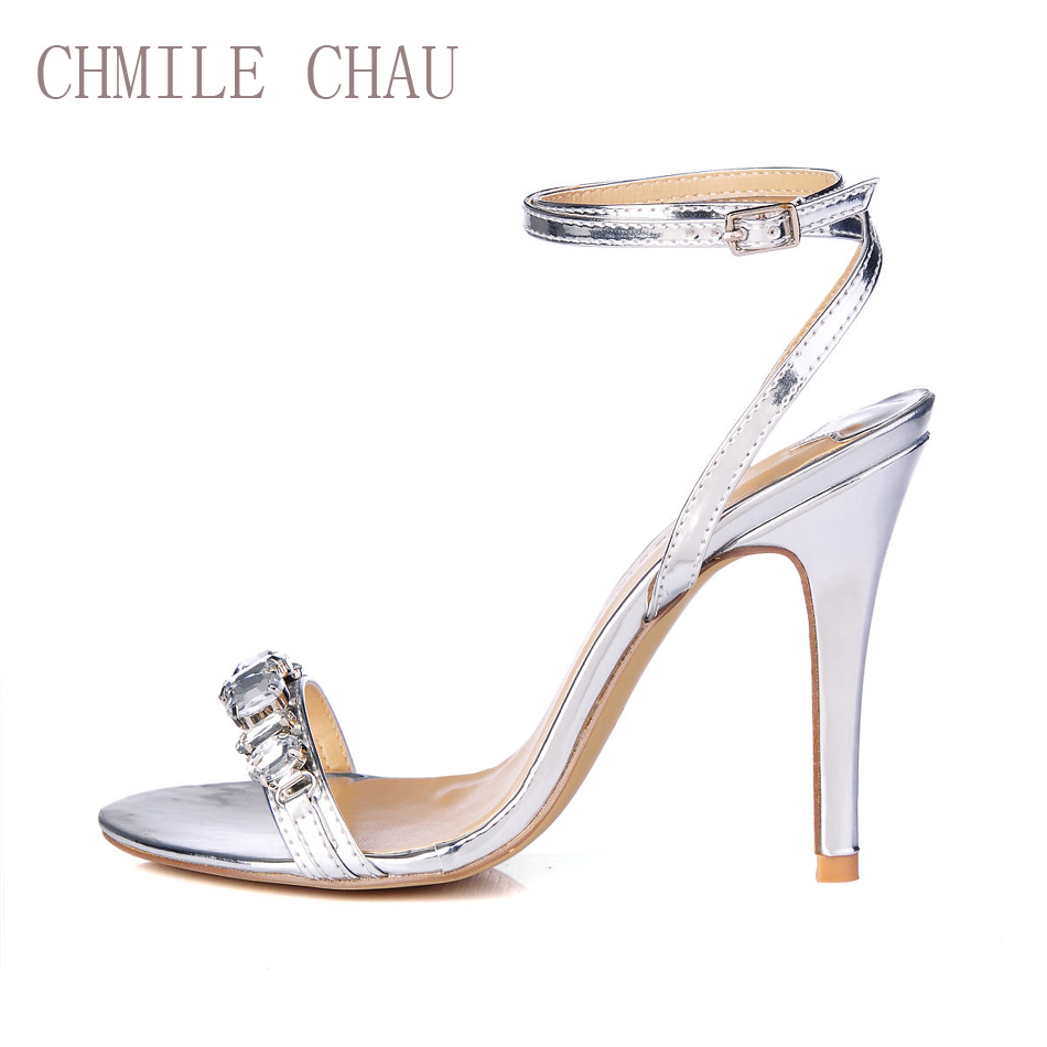 CHMILE CHAU Patent Sexy Wedding Party Women Shoes Stiletto High Heel Ankle Strap Rhinestone Crystal Sandals Zapatos Mujer 5186-3 цена 2017