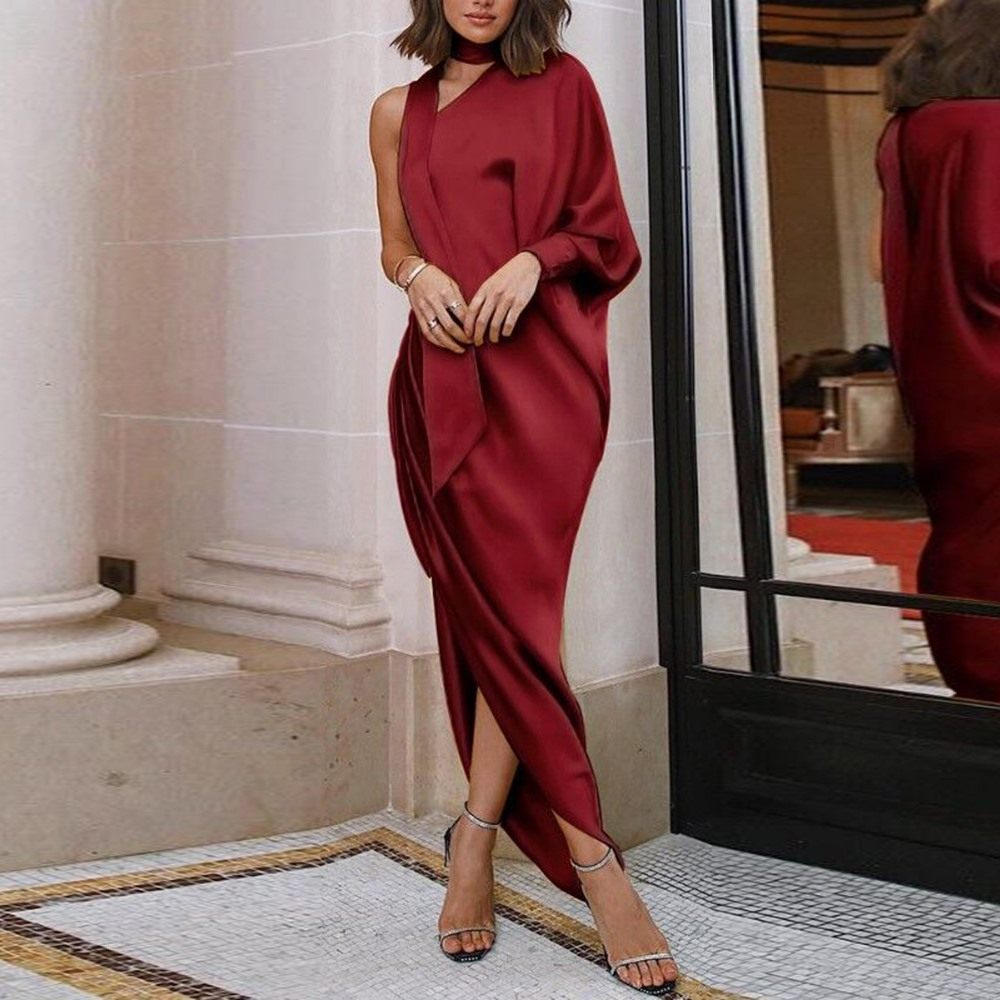 One Shoulder Sexy Long Dress Women Autumn 2018 Fashion Elegant Ladies Club Prom Evening Pleated Slim Burgundy Split Maxi Dresses