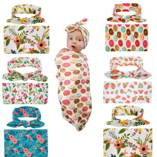 Cute Newborn Baby Floral Swaddle Wrap Towerl 2Pcs Set Toddler Infant Kids Cotton Blanket Bassine Swaddling Sleeping Bag Blankets