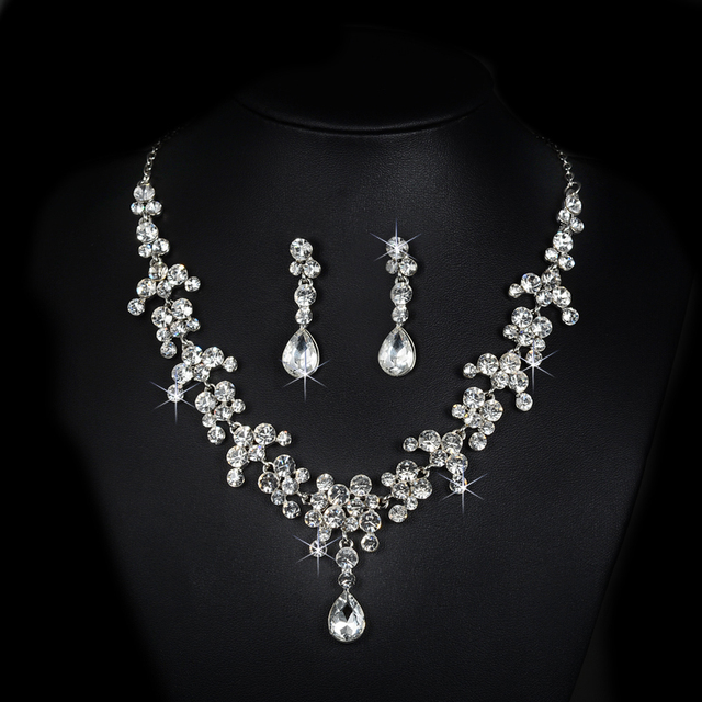 bridal jewelry set wedding dress imitated pearl necklace accessories women earrings silver plated luxurious party bijoux D026