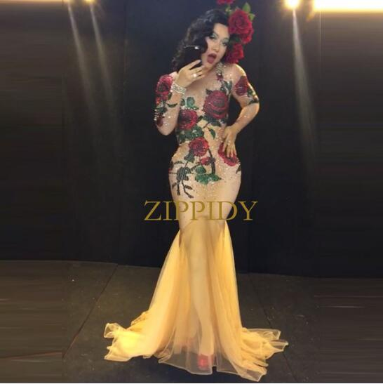 Multicolor Stones Rose Flowers Long Dress Red Green Rhinestones Stage Wear Nude Stretch Dress Bar Female Singer Evening Outfit