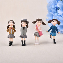 4pcs/Set Cute Hayao Miyazaki Xiaomei Resin Craft Fairy Garden Figurines Japanese Animation Micro Landscape Ornaments