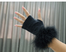 MIARA.L Wool plush gloves lady dew fingers knitted thin warm fur without short students with fake sleeves