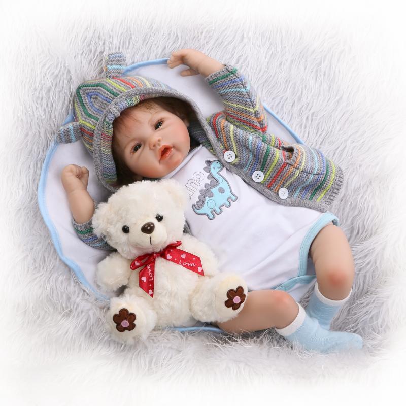 50cm Soft Silicone Reborn Doll Lifelike Simulation Handmade Realistic Baby Dolls With A Bear Toy Vinyl Bebe Toys Boencas