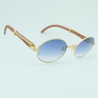 Retro Mens Sunglasse Luxury Women Wood Vintage Driving Shade Brand Designer Eyewear Carter Wooden Oval Sun Glasses Decoration