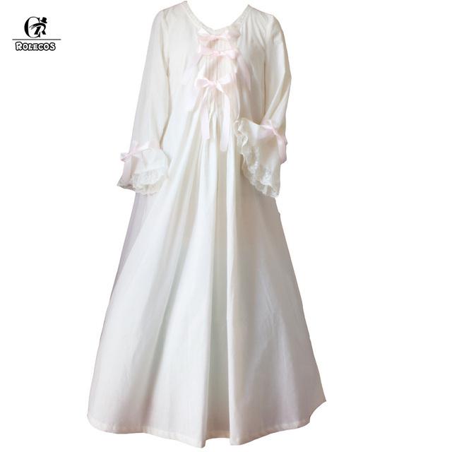 ROLECOS Clássico Romântico Princesa Do Vintage de Manga Longa de Algodão Sleepwear Mulheres Camisolas com Bowknot Roupa do Projeto