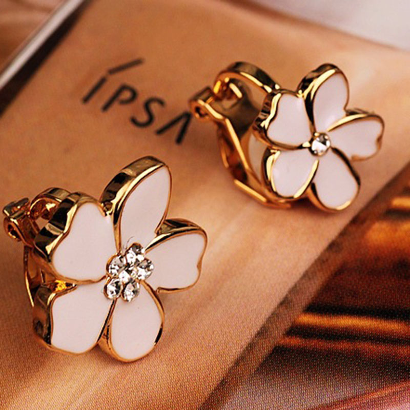 JIOFREE On-Earrings Jewelry Ear-Clip Piercing Flower-Shape No-Hole Korea-Style Girls
