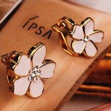 Jiree brincos sem piercing em forma de flor, estilo coreano, clipe de esmalte em forma de flor, sem piercing para meninas, adorável sem buracos joias,