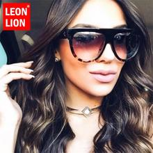 LEONLION Flat Top Sunglasses Women Big Frame Sun Glasses Vintage Gradient Jelly Color Female Eyewear Retro Leopard Lunettes