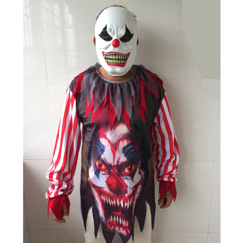 Halloween Horror Clown Costume With Mask Adult Men Boys Horror Clown Cosplay Costumes Timid people please do not buy