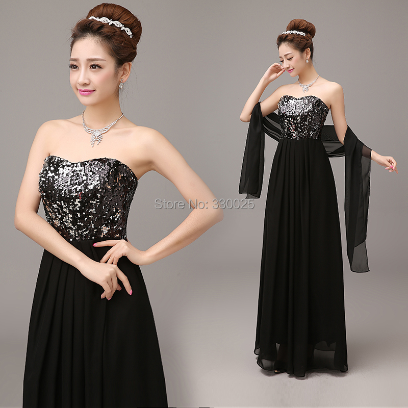 Black Prom Dress 2016 Formal Dinner Party Dress Tube Top Bridal Long Sequins Banquet Costume ...
