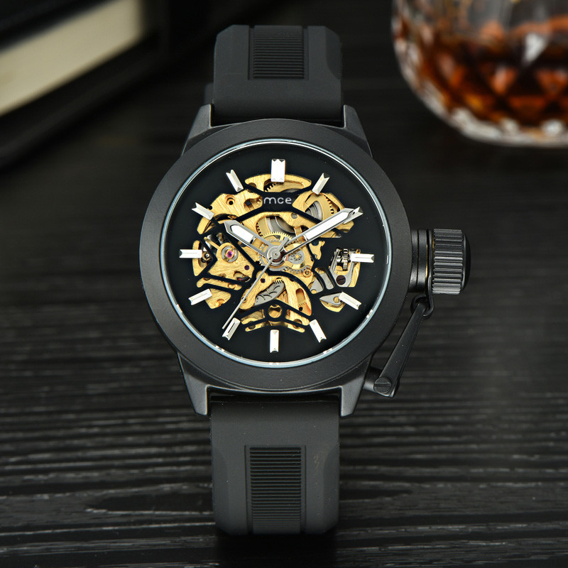 2018 Mens Watches Top Brand Luxury Hollow Skeleton Automatic Watch Men Watch Clock Z731 5Up ultra luxury 2 3 5 modes german motor watch winder white color wooden black pu leater inside automatic watch winder