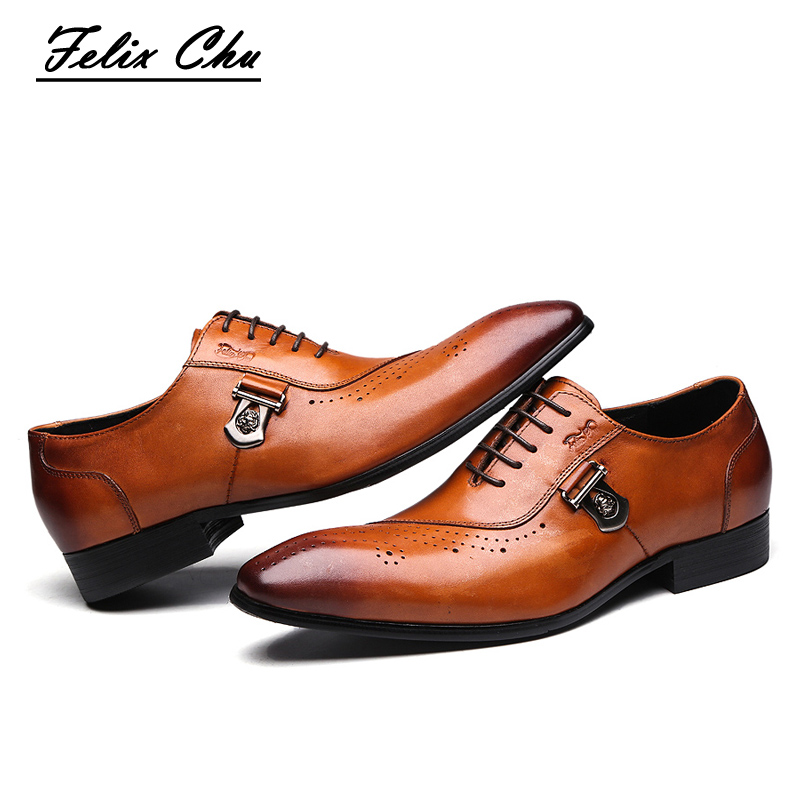 2017 Autumn Italian Designer Brown Brogue Shoes Genuine Leather Lace Up Men Formal Party Office Wedding Dress Oxfords #188-89 2017 new fashion italian designer formal mens dress shoes embossed leather luxury wedding shoes men loafers office for male